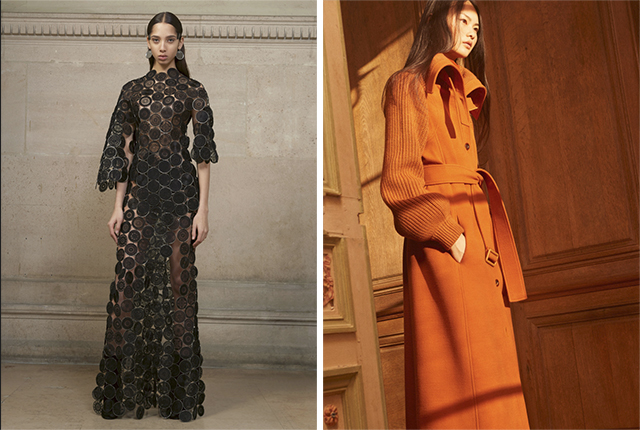 A look from Givenchy Couture spring 2017 and a look from Chloé pre-fall 2017.
