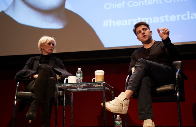 Joanna Coles and Brian Chesky at Hearst HQ.