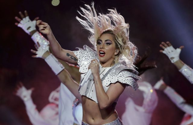 Lady Gaga Lady Gaga in Atelier Versace at the Super Bowl halftime performance in Houston.