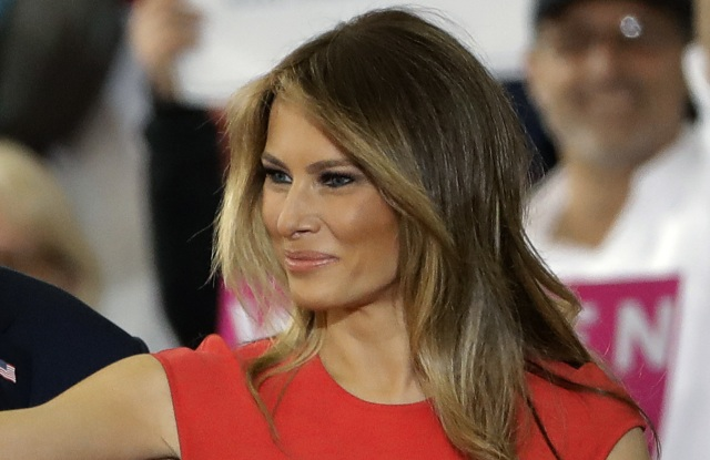 First Lady Melania Trump wearing Alexander McQueen on February 18.