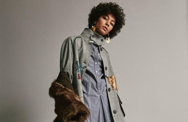 Stella Jean's Prince of Wales wool coat and Adrienne Landau's fox-fur coat, Design History's wool turtleneck under Vanessa Seward's cotton dress and Carolina Herrera's wool pants. 3.1 Phillip Lim earrings.