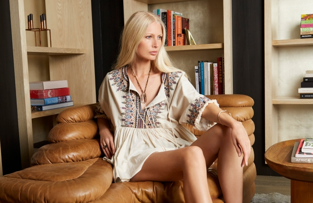 Kirsty Hume wearing a style from her collaboration with Velvet by Graham & Spencer.