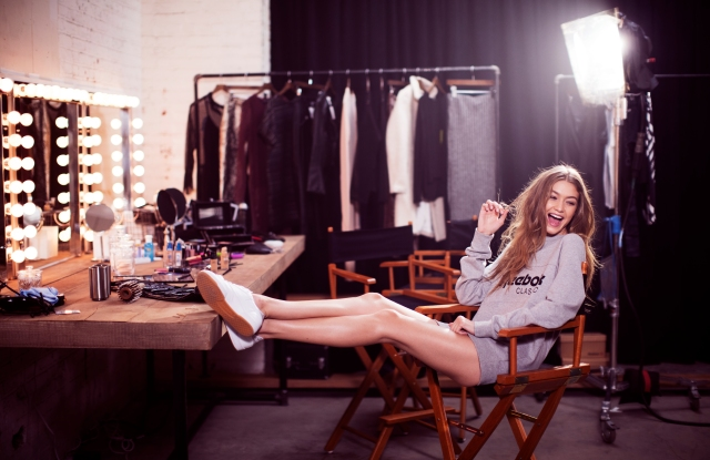 A visual of Reebok's spring campaign featuring Gigi Hadid