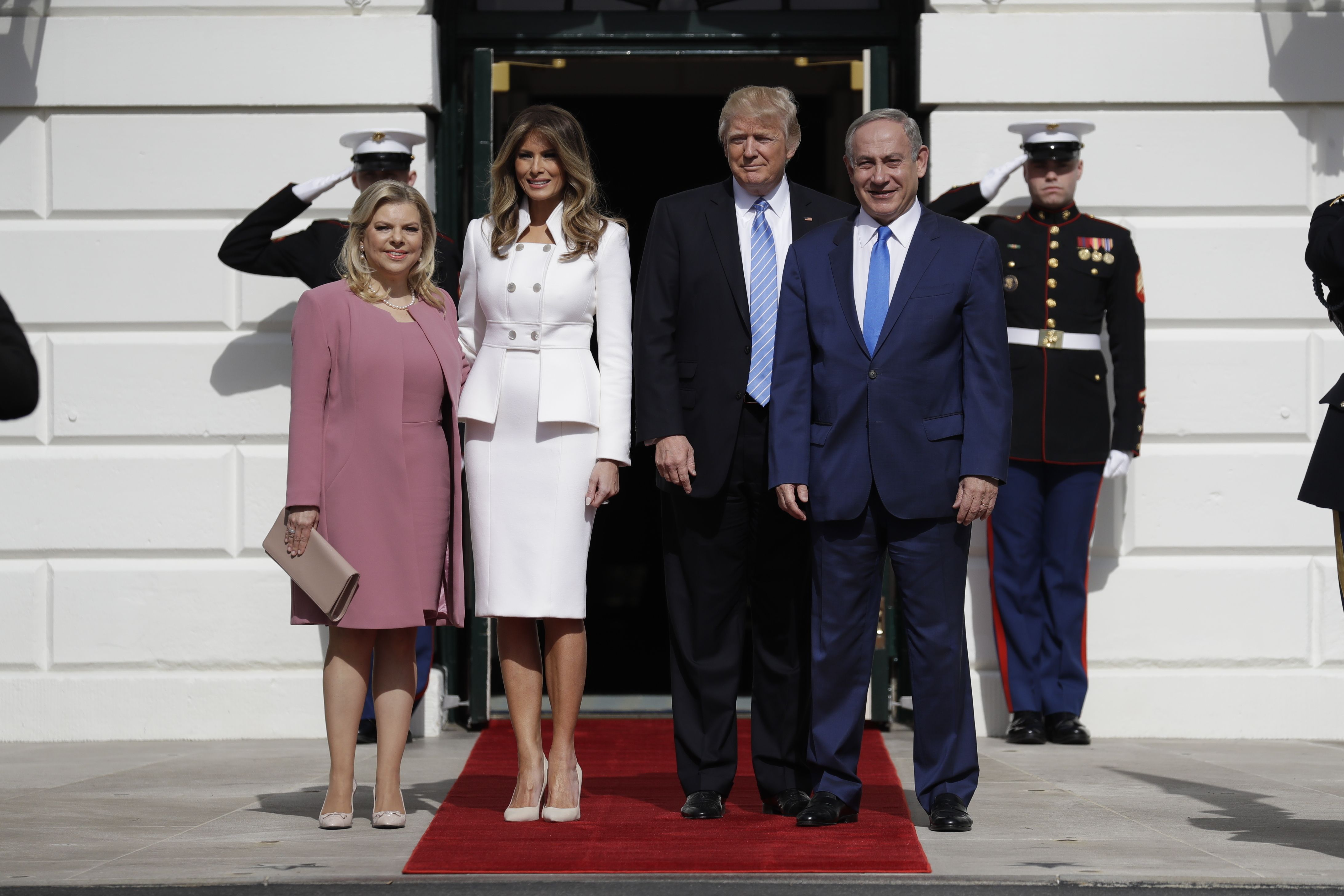 First Lady Melania Trump went with a Karl Lagerfeld couture ensemble to join the President at a press event with Israeli Prime Minister Benjamin Netanyahu and his wife Sara.