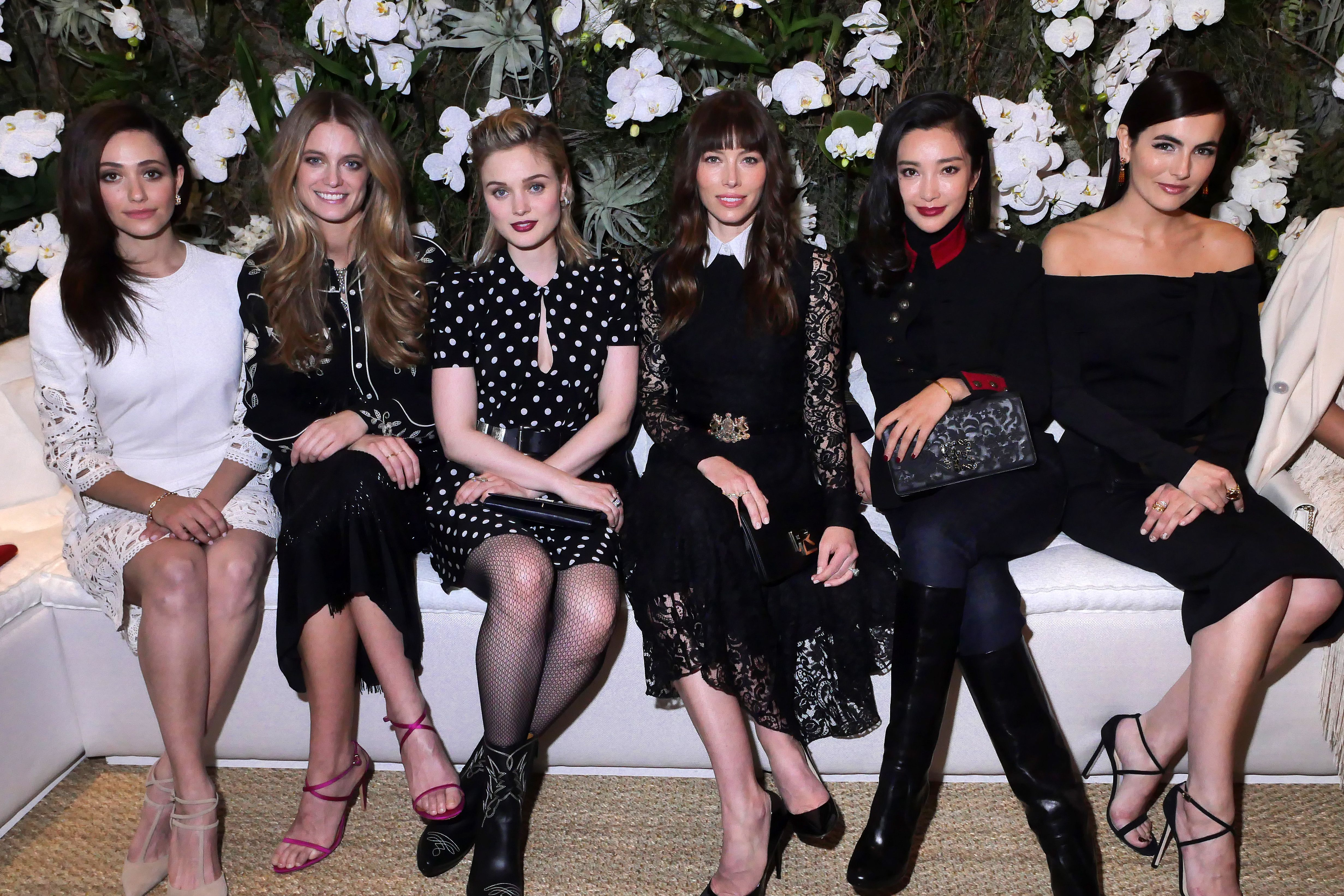 Emmy Rossum, Bella Heathcote, Jessica Biel and Camilla Belle in the front row