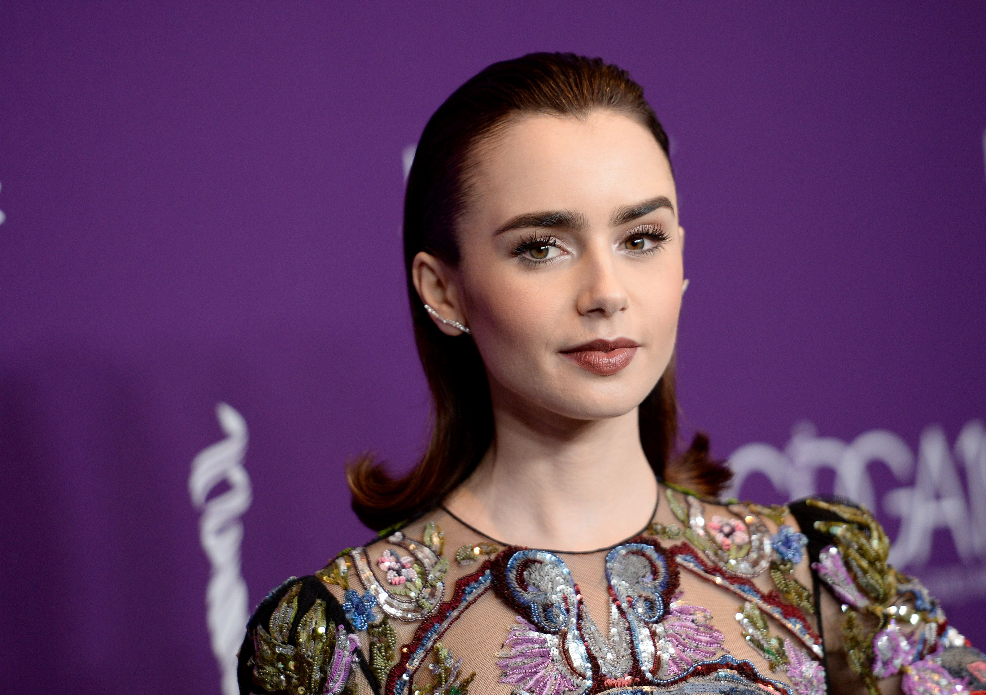 Lily Collins in Alexander McQueen 19th Annual Costume Designers Guild Awards
