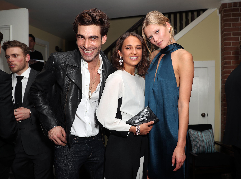 Jon Kortajarena, Alicia Vikander and Toni Garrn Bulgari pre-Oscar Celebration