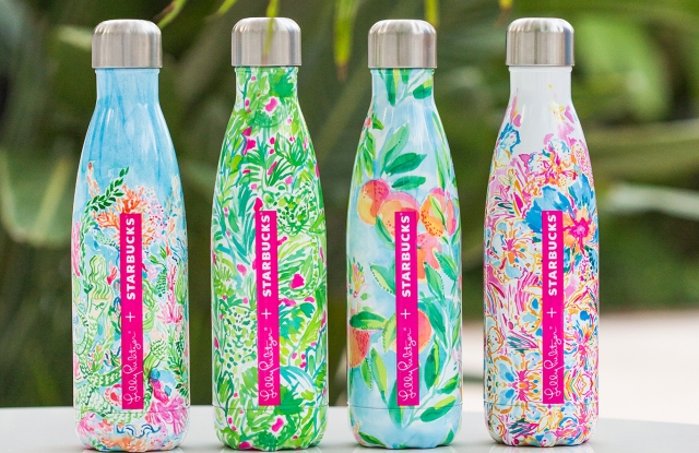The Lilly Pulitzer + Starbucks S'well bottles