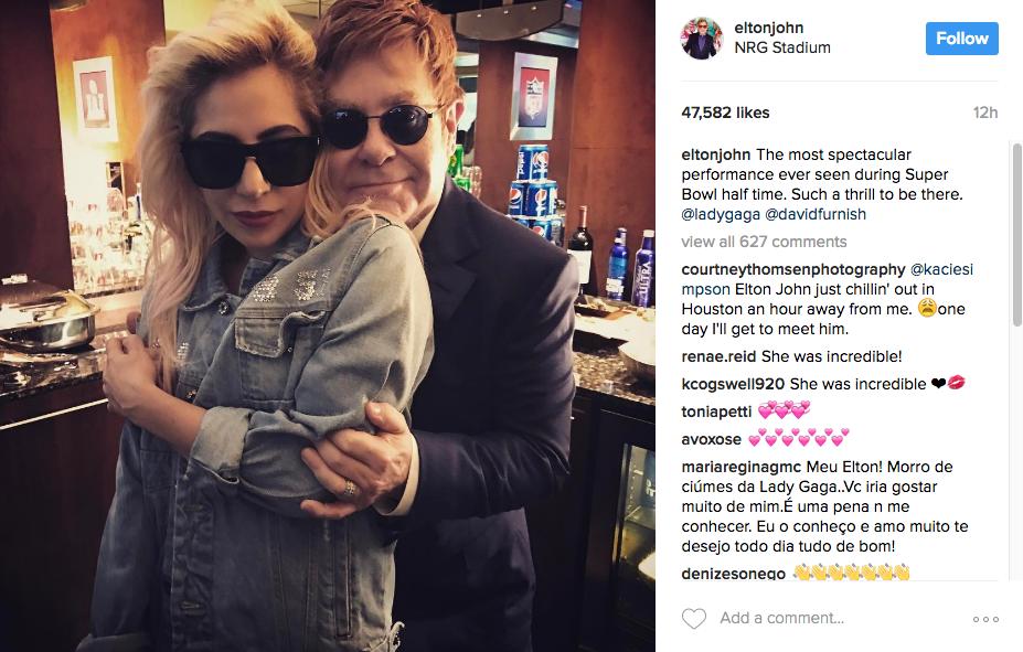 Lady Gaga and Elton John at Super Bowl LI.