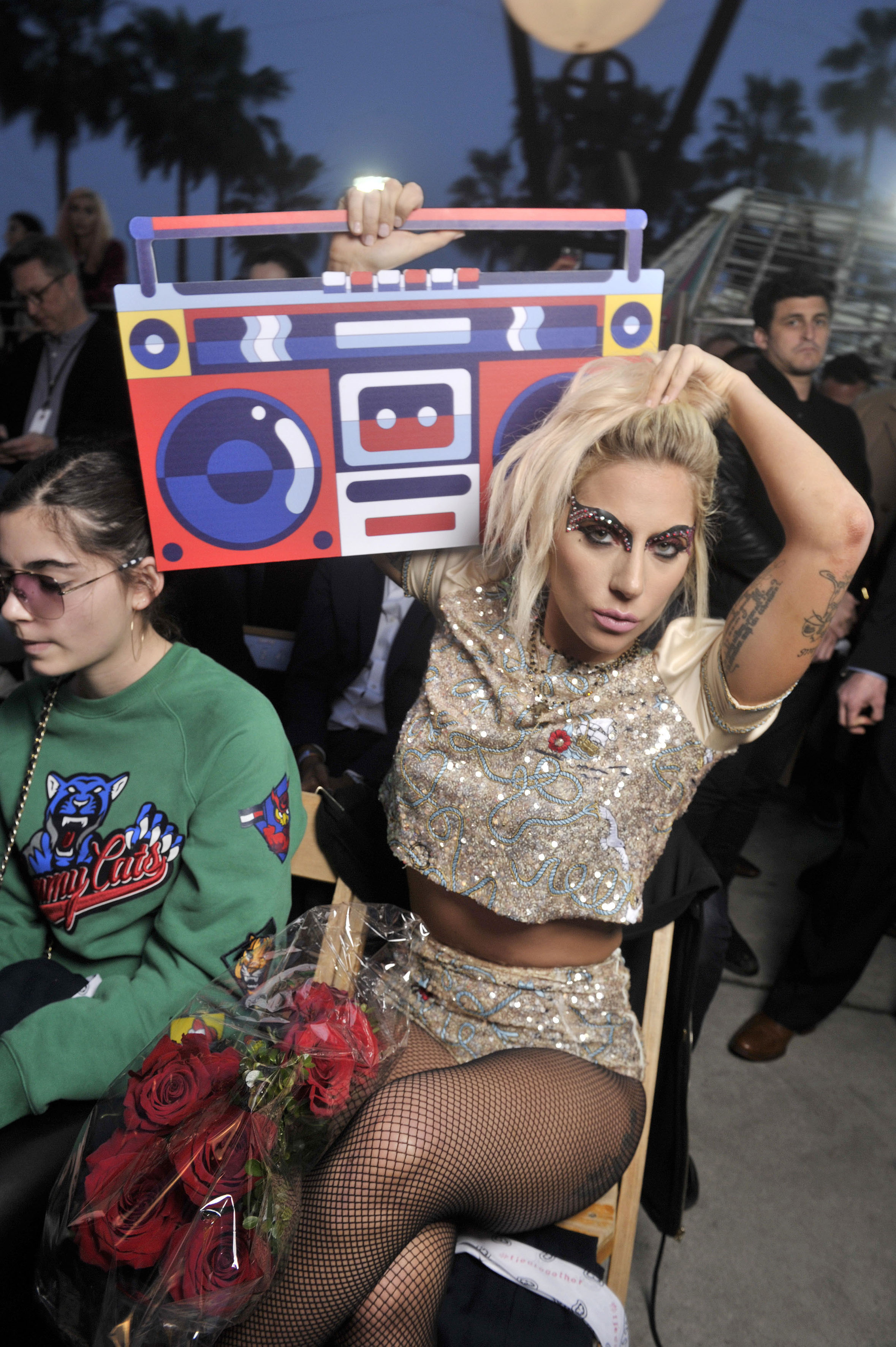 Lady Gaga Front Row at Tommy Hilfiger RTW Spring 2017