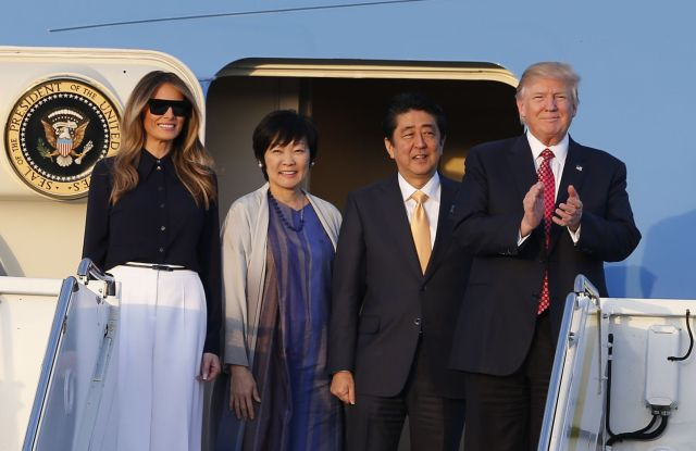 President Trump and the First Lady wearing Michael Kors with Japan's Prime Minister  Shinzo Abe and his wife Akie.