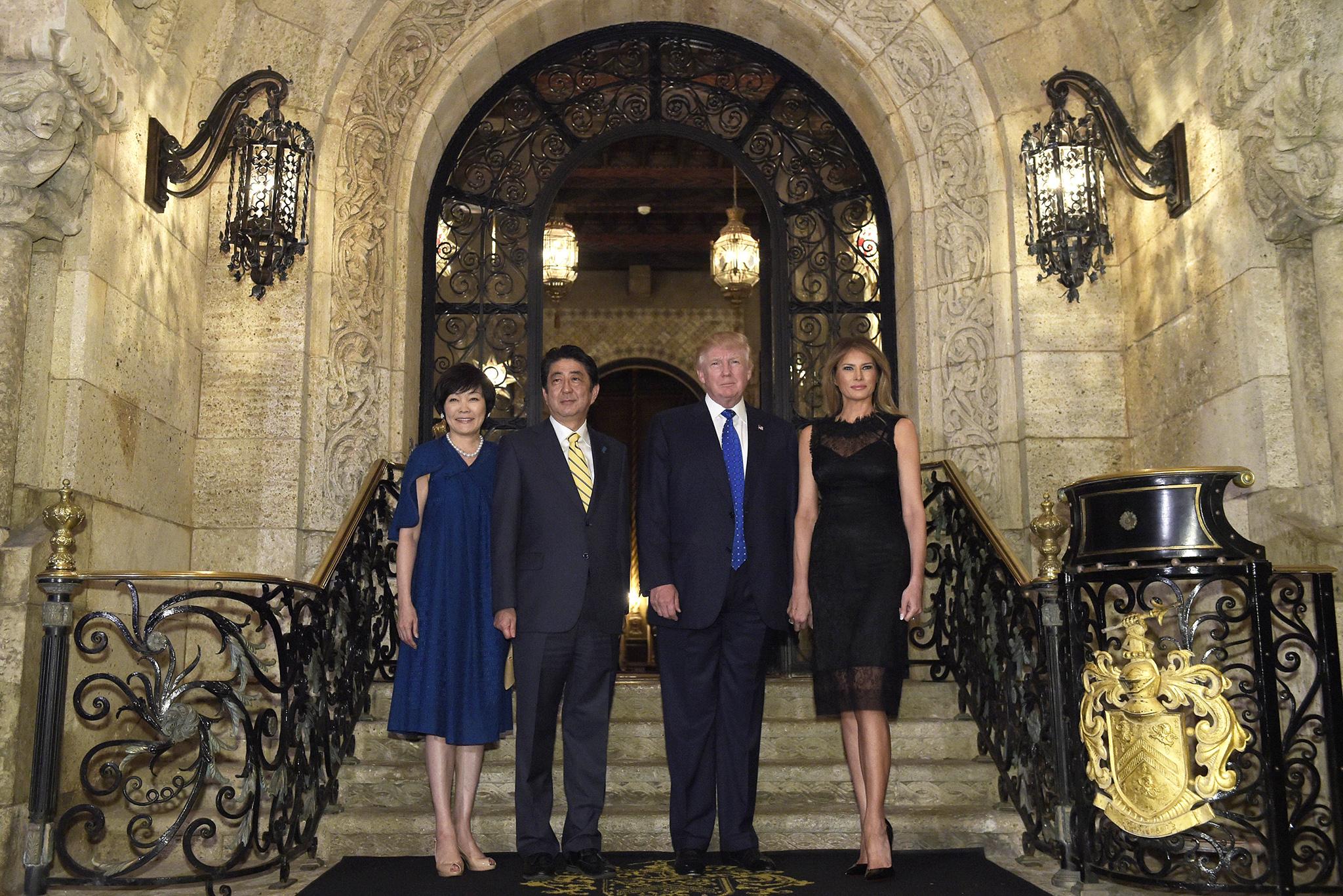 Donald Trump, Melania Trump, Shinzo Abe, and Akie Abe