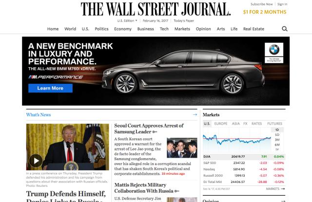 The Wall Street Journal's website.