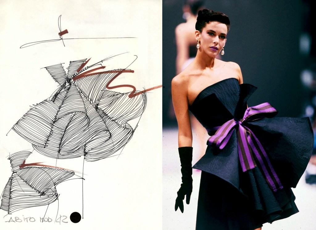 Gianfranco Ferré's sketch. Alta Moda, Fall 1987.