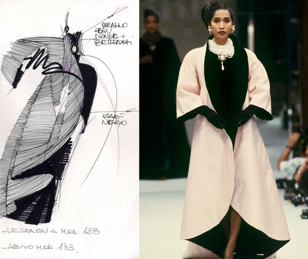 Gianfranco Ferré's sketch. Alta Moda, Fall 1988.