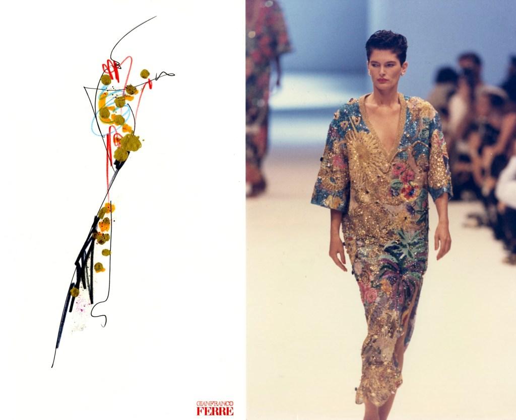 Gianfranco Ferré's sketch. Ready to Wear, Spring 1990.