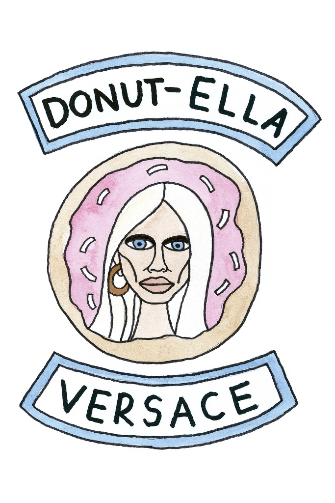 Angelica Hicks' illustration of Donatella Versace.