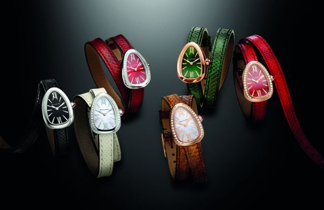 The new Bulgari Serpenti watch with interchangeable leather strap.