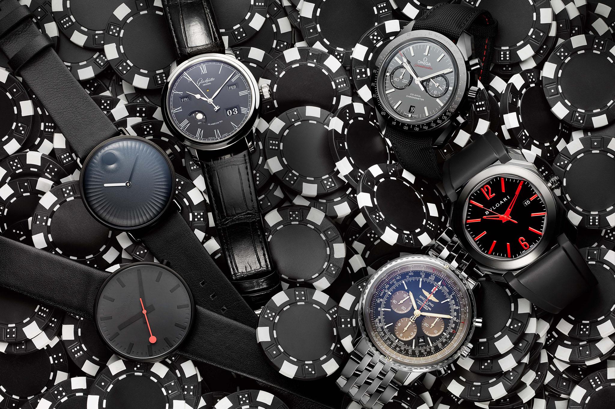 Clockwise from lower left: Mondaine, Movado, Glashutte, Omega, Bulgari and Breitling.