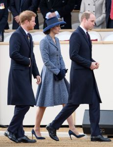 Prince Harry, the Duchess of Cambridge (in Michael Kors Collection) and Prince William