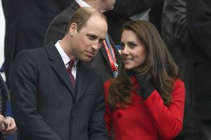 Prince William and the Duchess of Cambridge (in Carolina Herrera) at the France vs. Wales Six Nations Rugby match