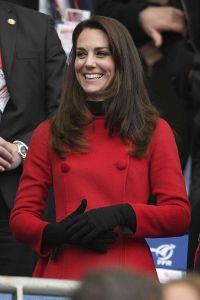 The Duchess of Cambridge (in Carolina Herrera) at the France vs. Wales Six Nations Rugby match