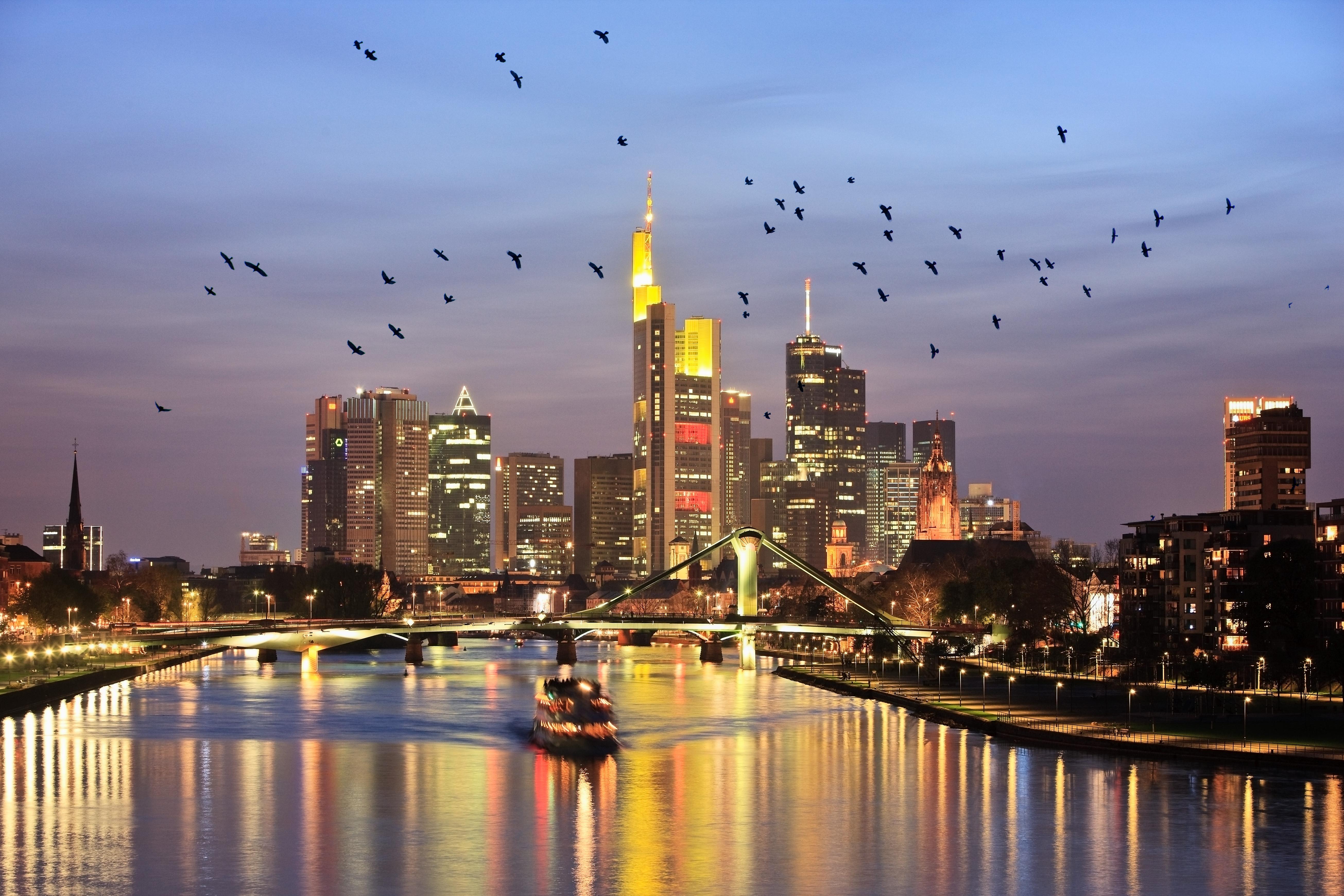 Minimum usage fee is £35Mandatory Credit: Photo by Cultura/REX/Shutterstock (2975418a)River Main and Frankfurt skyline at dusk, Frankfurt, GermanyVARIOUS