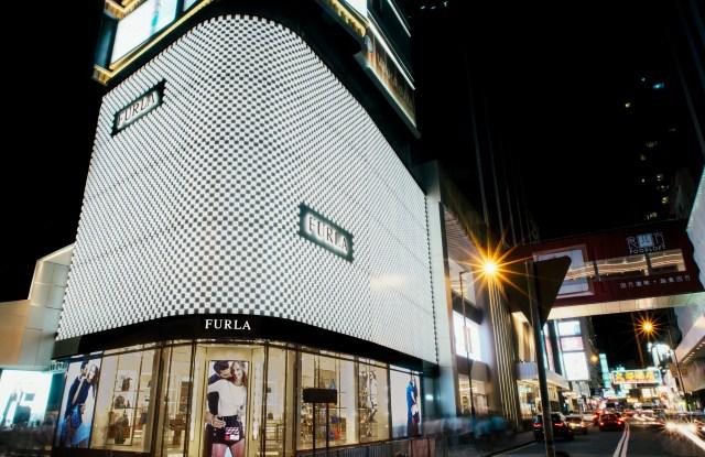 The facade of Furla's store at Mira Mall in Hong Kong