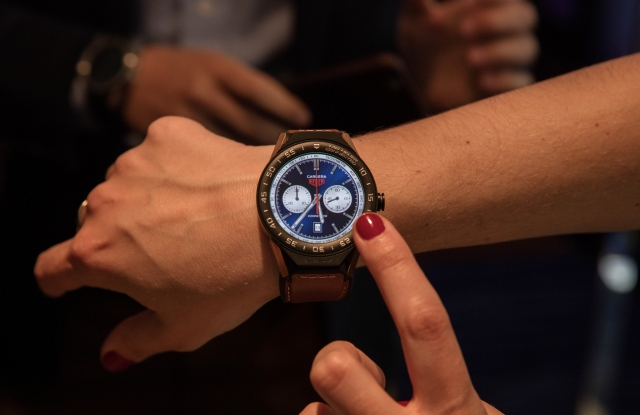 The unique watch display and companion app on the TAG Connected Modular 45 understand your plan for the day and proactively assist in keeping you on track. The watch became available worldwide on Tuesday, March 14, 2017. (Credit: Intel Corporation)