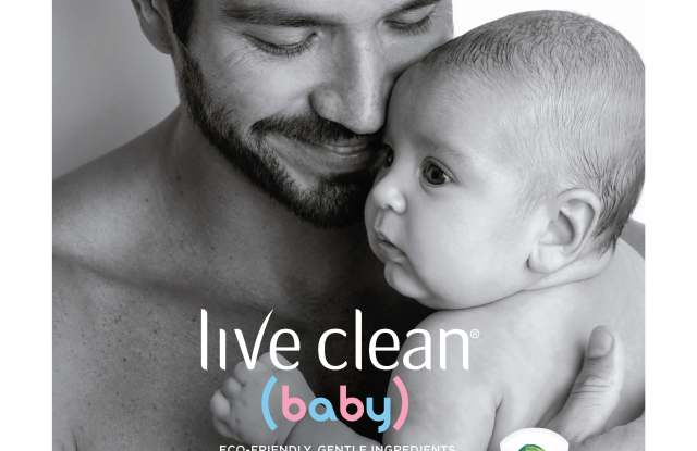 Live Clean's new baby ad features a dad and baby.