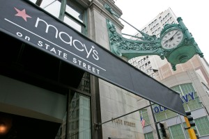 New canopies bearing the Macy's logo hang at their State Street store in the former Marshall Field's building in Chicago, Saturday, Sept. 9, 2006. Federated Department Stores is converting more than 400 department stores across the nation to Macy's today, including Filene's in Massachusetts and the 154-year-old Marshall Field's store on Chicago's State Street. (AP Photo/Brian Kersey)