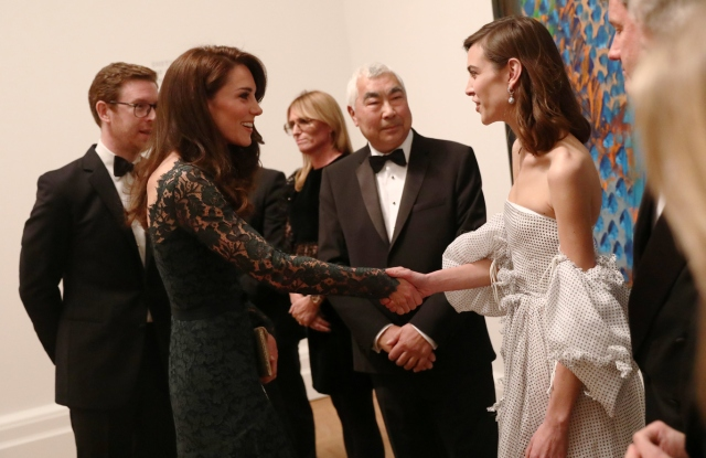 The Duchess greets Alexa Chung at the 2017 Portrait Gala at the National Portrait Gallery in London
