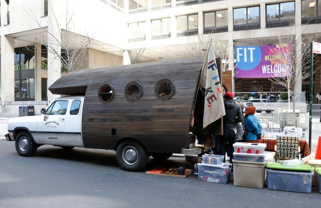 Patagonia staffers camped out in front of Fashion Institute of Technology's Student Center.