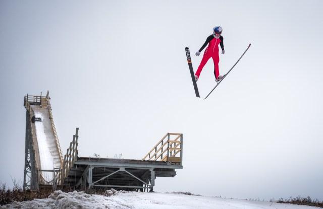 Sarah Hendrickson hits the Nanasen Ski jump in Milan, NH USA on March 4, 2017.