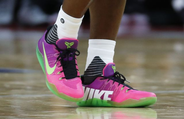 Copyright 2016 The Associated Press. All rights reserved. This material may not be published, broadcast, rewritten or redistributed without permission.Mandatory Credit: Photo by Paul Sancya/AP/REX/Shutterstock (6208735f)Detroit Pistons' Stanley Johnson's Nike shoes are shown against the San Antonio Spurs in the second half of a preseason NBA basketball game in Auburn Hills, MichSan Antonio Spurs v Detroit Pistons preseason NBA basketball game, Auburn Hills, USA - 10 Oct 2016