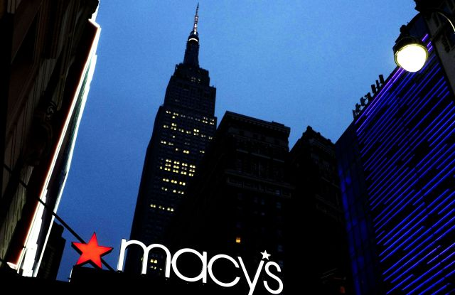 Copyright 2016 The Associated Press. All rights reserved. This material may not be published, broadcast, rewritten or redistributed without permission.Mandatory Credit: Photo by Mark Lennihan/AP/REX/Shutterstock (6222347a)A Macy's sign is illuminated on a store marquis, in New YorkMacys, New York, USA - 17 Sep 2016