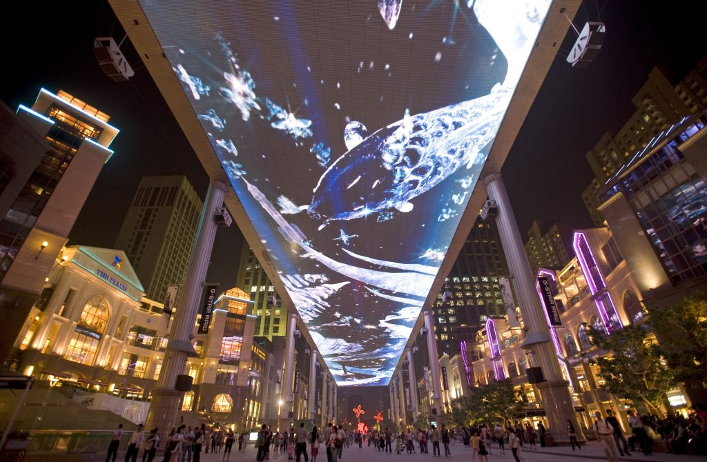 The Place mall in Beijing houses one of the largest LED screens in the world measuring 250 meters long and 30 meters wide.