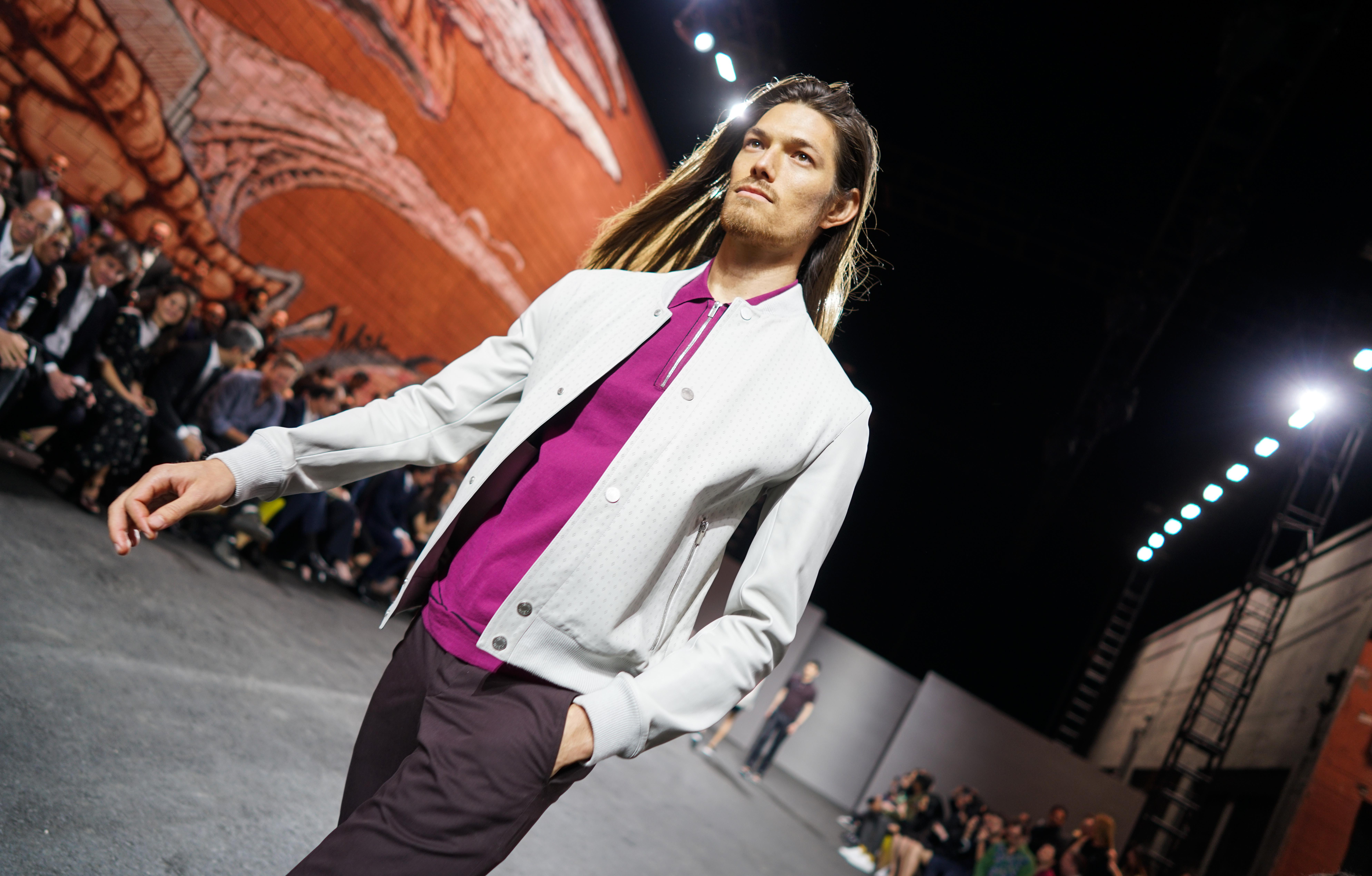 Model on the catwalkHermes DWNTWNMEN fashion show, Runway, Los Angeles, USA - 09 Mar 2017