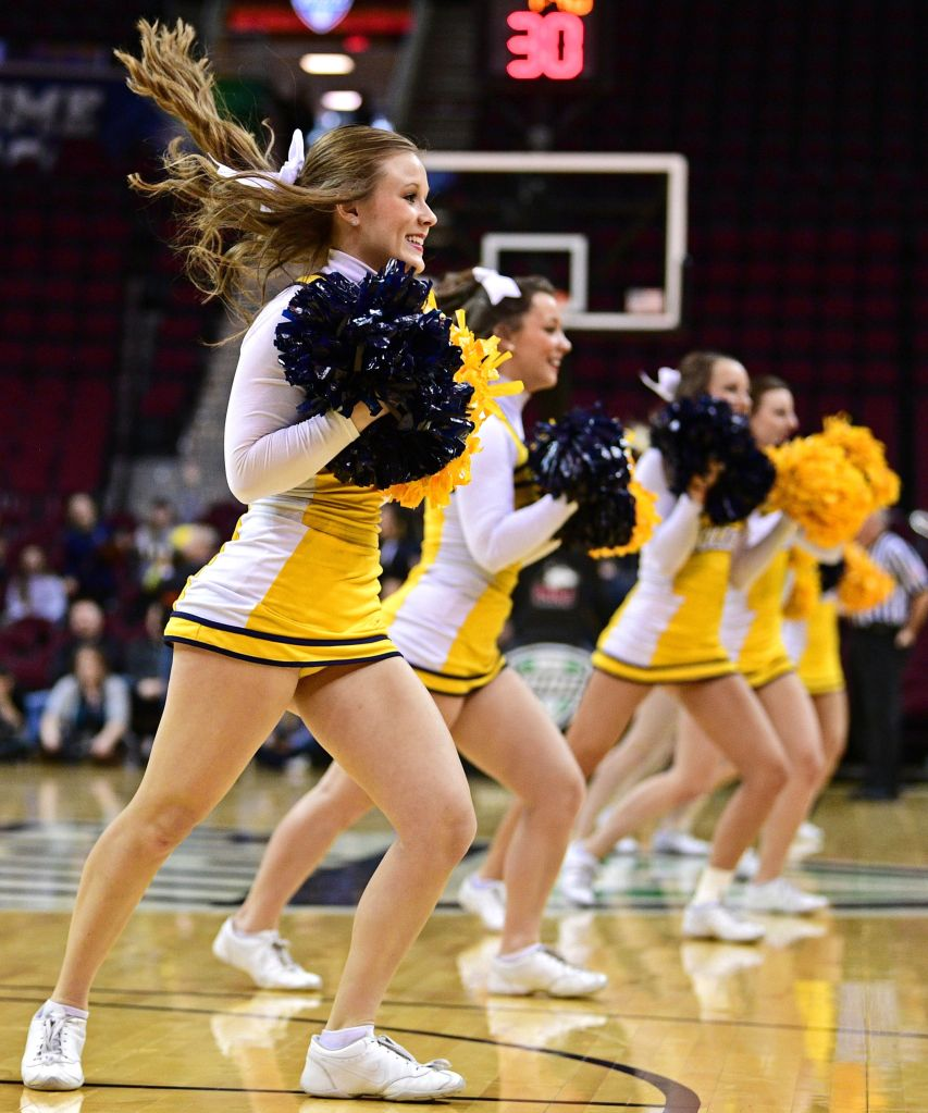 Copyright 2017 The Associated Press. All rights reserved. This material may not be published, broadcast, rewritten or redistributed without permission.Mandatory Credit: Photo by AP/REX/Shutterstock (8521415o) A Toledo Rockets cheerleader performs during the second half of an NCAA college basketball game between the Toledo Rockets and Northern Illinois Huskies in the Mid-American Conference tournament championship, in Cleveland, Ohio. Toledo won 82-71 MAC Toledo Northern Illinois Basketball, Cleveland, USA - 11 Mar 2017