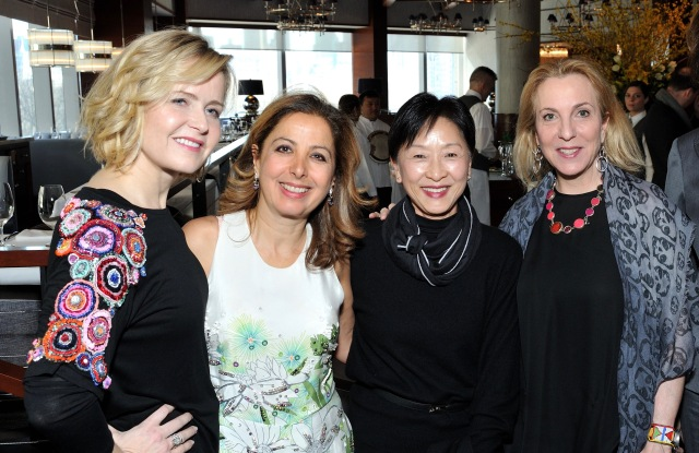 L-R: Kara Ross, Karine Ohana, Caroline Wang, Susan Rockefeller and Victoria Amory  attend the Ohana & Co. Success for Progress Luncheon 2017 with Kara Ross and Susan Rockefeller at Porter House in New York, NY on March 8, 2017.  (Photo by Stephen Smith/Guest of a Guest)