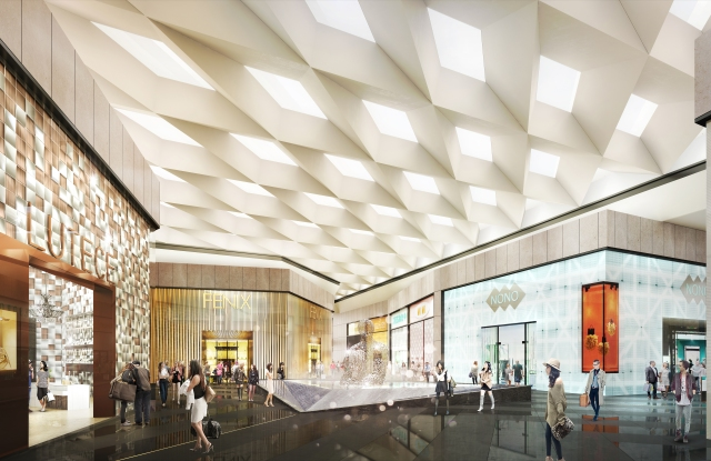 Rendering of the grand court at The Shops at Riverside.