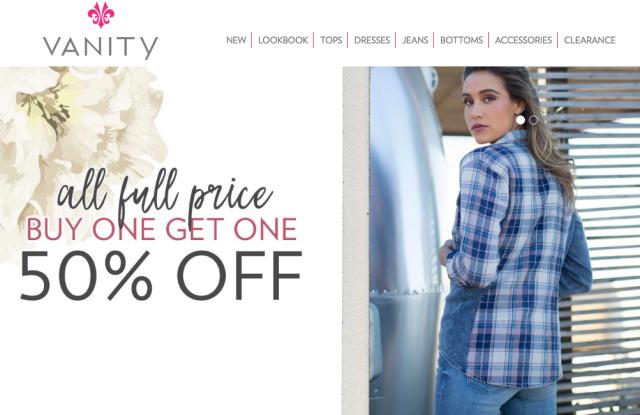 Vanity store website, retail apparel