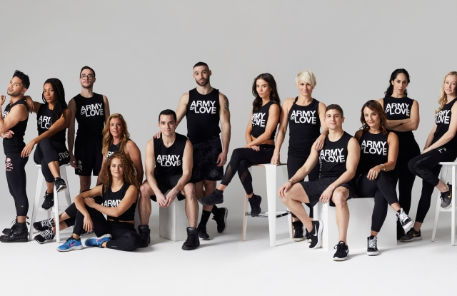 SoulCycle instructors in Army of Love tanks.