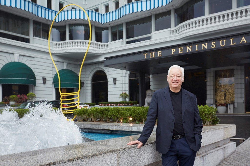"Michael Craig-Martin's Peninsula hotel installation ""Bright Idea"""