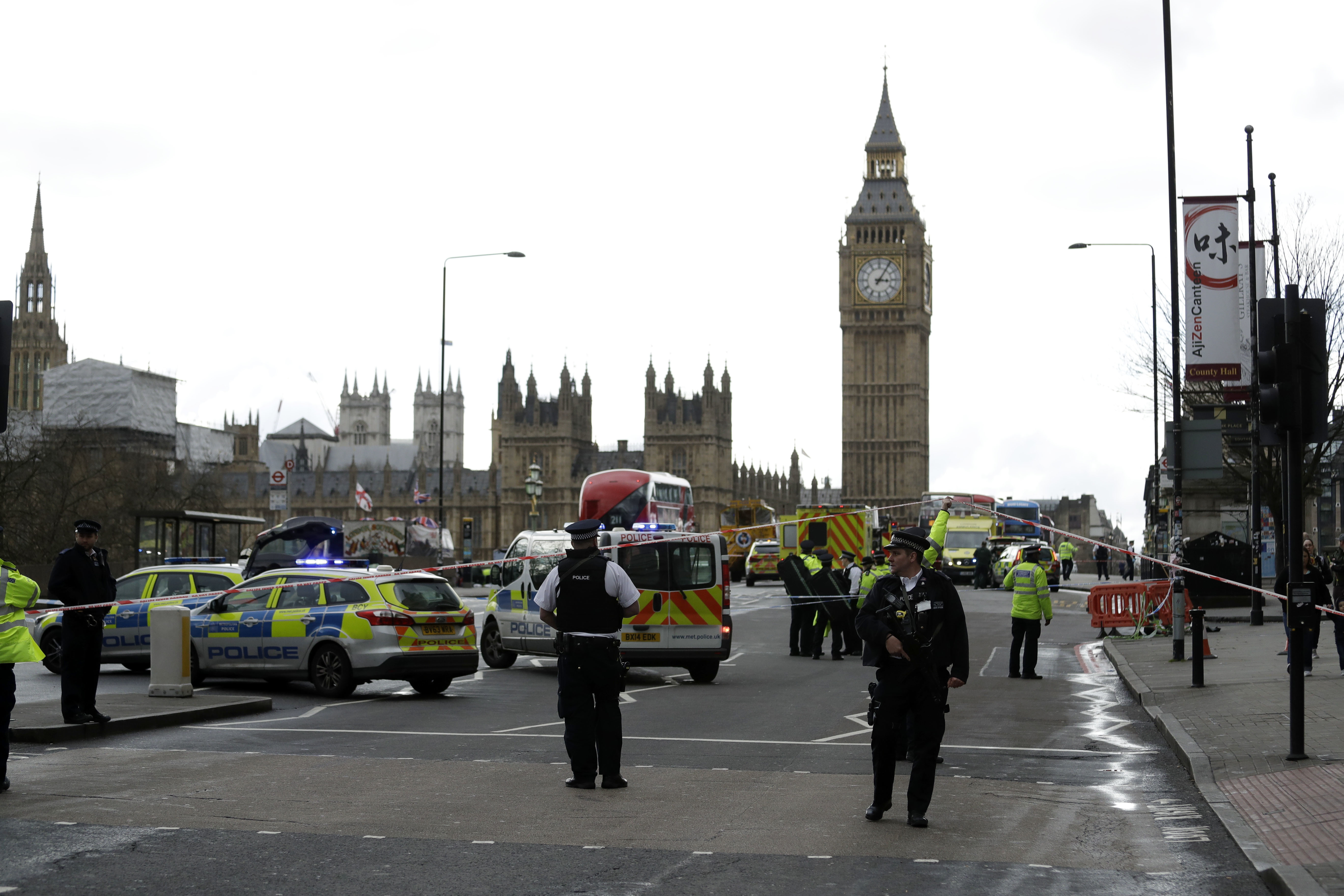 """Copyright 2017 The Associated Press. All rights reserved. This material may not be published, broadcast, rewritten or redistributed without permission.Mandatory Credit: Photo by AP/REX/Shutterstock (8550170c)Police secure the area on the south side of Westminster Bridge close to the Houses of Parliament in London, . The leader of Britain's House of Commons says a man has been shot by police at Parliament. David Liddington also said there were """"reports of further violent incidents in the vicinity."""" London's police said officers had been called to a firearms incident on Westminster Bridge, near the parliament. Britain's MI5 says it is too early to say if the incident is terror-relatedBritain Parliament Incident, London, United Kingdom - 22 Mar 2017"""
