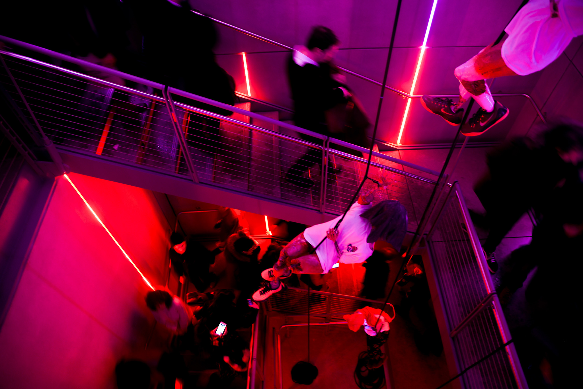 The Whitney Museum's stairwell was something of a social experiment Wednesday evening.
