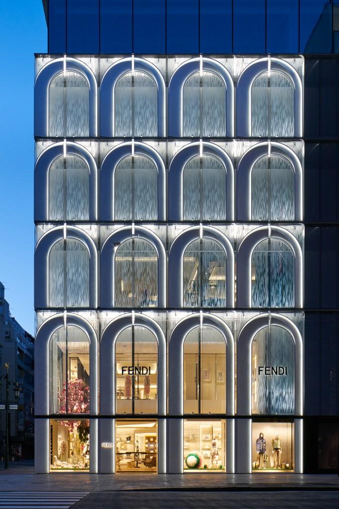 The façade of Fendi's Ginza flagship