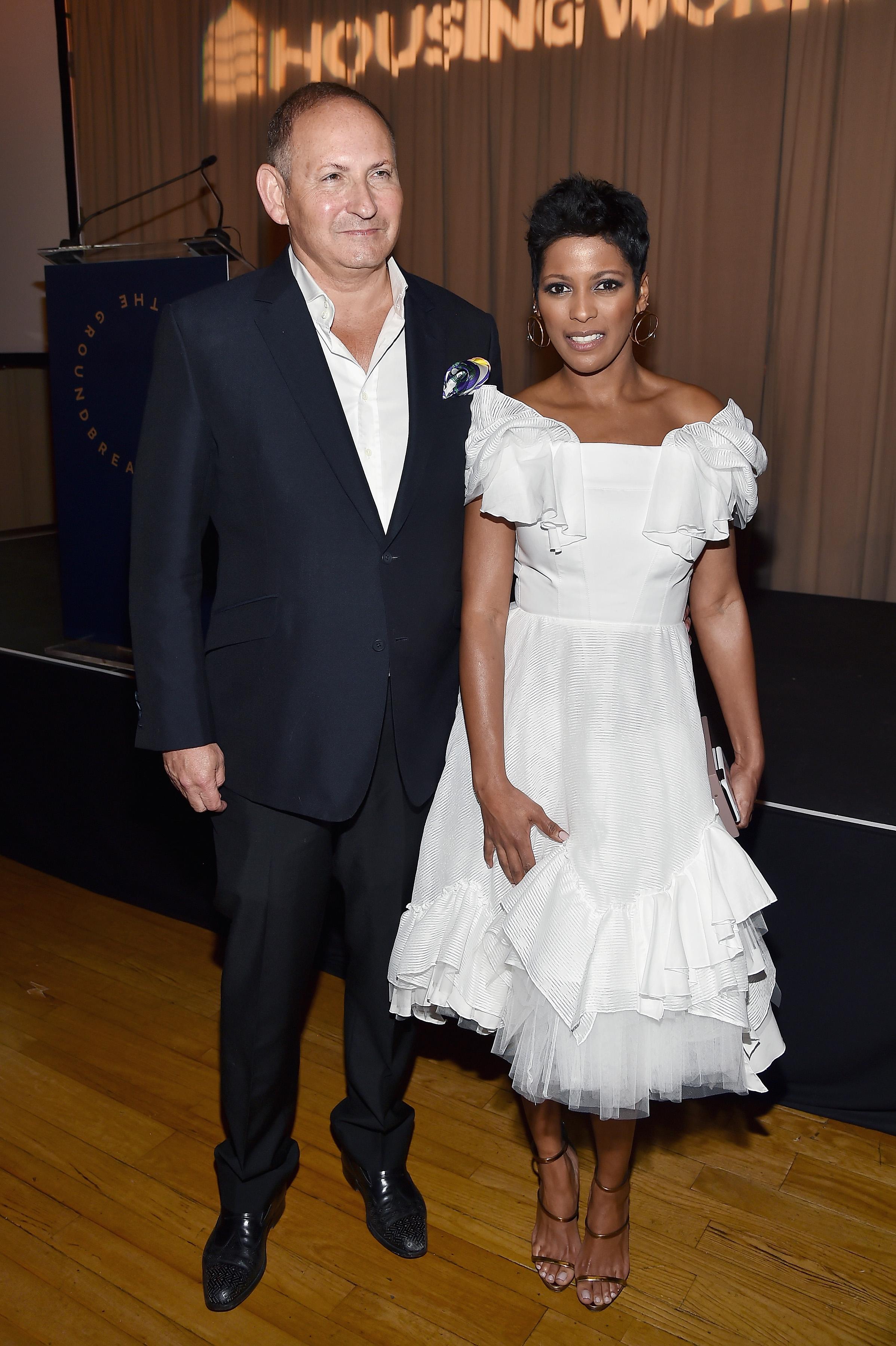 John Demsey, Tamron Hall==Housing Works' Groundbreaker Awards Dinner 2017==Metropolitan Pavilion, NYC==April 26, 2017==©Patrick McMullan==photo - Patrick McMullan/PMC==== John Demsey; Tamron Hall
