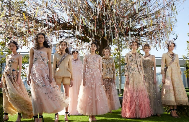 Models in the eight Dior couture looks Maria Grazia Chiuri designed specifically for the Tokyo show.