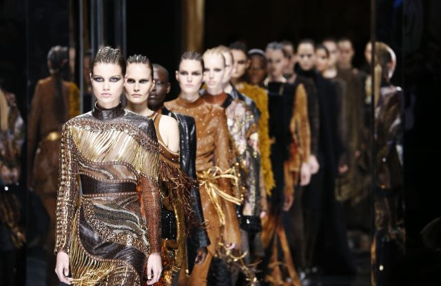 The finale at the Balmain fall 2017 show in Paris.